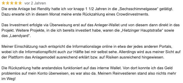 Erfahrungsbericht von Rendity-Investoren