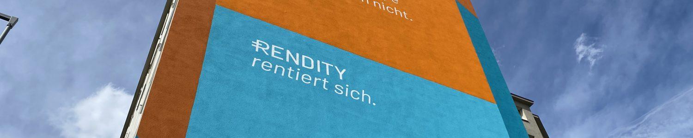 Rendity wirbt mit Werbewand
